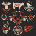 Fresh beef labels. Butchery store labels. Cow heads icons and bu Royalty Free Stock Photo