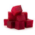 Fresh beetroot cube slices closeup isolated on white background Royalty Free Stock Photo