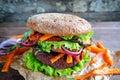 Fresh beetroot lentil vegan burger Royalty Free Stock Photo