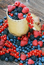 Fresh berries are scattered