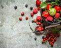 Fresh berry in mug Royalty Free Stock Photo
