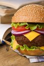 Fresh big hamburger on a background of notebooks and textbooks lunch during study closeup vertical Stock Images