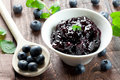 Fresh bilberry jam Stock Photography