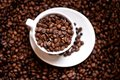 Fresh black columbian coffee in white cup isolated on beans background Stock Photography