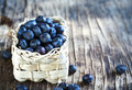 Fresh blueberries in basket. Royalty Free Stock Photo