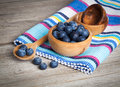 Fresh blueberries on wooden background Royalty Free Stock Photo