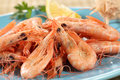 Fresh boiled prawns Royalty Free Stock Photo