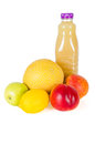Fresh bottle of juice with fruits isolated on white and tasty many Stock Image