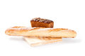 Fresh bread baguette wooden board white background Stock Photography