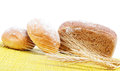 Fresh bread on a bamboo napkin Stock Photo
