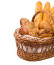 Fresh bread in the basket on the white Royalty Free Stock Images