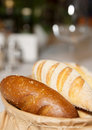 Fresh bread on restaurant table Royalty Free Stock Photography