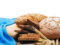 Fresh bread and wheat ears Royalty Free Stock Image