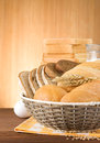 Fresh bread on wood Stock Images