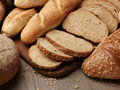 Fresh bread on the wooden Royalty Free Stock Photos