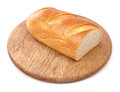 Fresh bread on wooden board isolated white Royalty Free Stock Photo