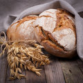 Fresh bread on wooden ground Royalty Free Stock Photography