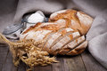 Fresh bread on wooden ground Royalty Free Stock Photos