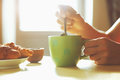 Fresh breakfast with hot coffee and croissant Royalty Free Stock Photo