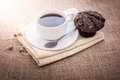 Fresh breakfast, hot coffee and cupcakes Royalty Free Stock Photo