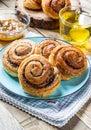 Fresh breakfast rolls buns with poppy seeds