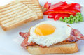 Fresh breakfest ham eggs vegetable and toast homemade Royalty Free Stock Image