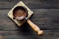 Fresh brewed coffee in turkish cezve Royalty Free Stock Photo