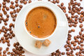 Fresh brewed cup of coffee on the plate with sugarcubes sugar cubes a side Royalty Free Stock Photos