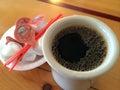 Fresh brewed dark coffee for breakfast Royalty Free Stock Photo