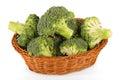 Fresh broccoli in basket isolated on white background. Royalty Free Stock Photo