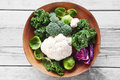 Fresh Broccoli, Cauliflower and Cabbage on Bowl Royalty Free Stock Photo