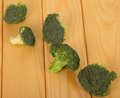 Fresh broccoli close-up on background of light wood. Royalty Free Stock Photo