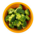 Fresh broccoli florets in a bowl isolated on white aerial view of freshly cut pieces of raw organic background Royalty Free Stock Photos