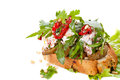 Fresh bruschetta with cheese and sun dried tomatoes Stock Photography