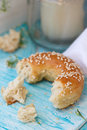 Fresh bun with sesame seeds Royalty Free Stock Photo