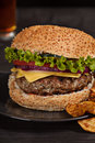 Fresh burger fast lunch  meal Royalty Free Stock Photo