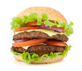Fresh burger with two beef pieces Stock Images