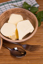 Fresh butter still life with in a ceramic plate Royalty Free Stock Photo