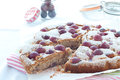 Fresh cake with red grape season and icing sugar Royalty Free Stock Photo