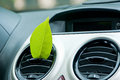 Fresh car green leaf in the air outlet clean air conditioning concept Stock Photography