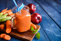 Fresh carrot and apple smoothie