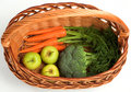 Fresh Carrots, Broccoli and Apples Royalty Free Stock Image