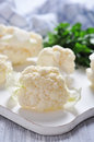 Fresh cauliflower close up on on cutting board Stock Images