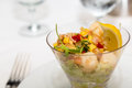 Fresh Ceviche in Glass on Table