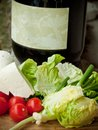 Fresh cheese and vegetables Royalty Free Stock Photo