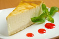 Fresh cheesecake with mint and topping Stock Photo