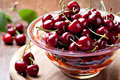 Fresh cherries in bowl Stock Photos