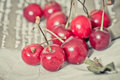 Fresh cherries on brown napkin Stock Photography