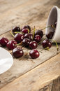 Fresh cherries cherry basket cherry tree branch sweet Stock Image
