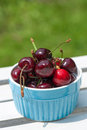 Fresh cherries in a colorful bowl Stock Images